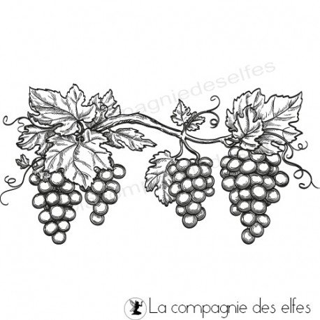 étampe grappe raisin | achat cachet vigne| bunch grape stamp