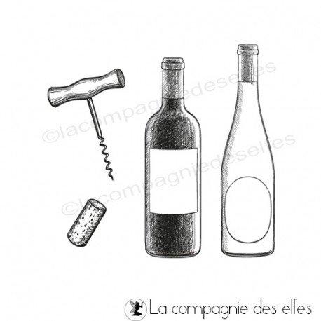 Carte automne vin et raisin 3/3 programmé 26/09 Tampon-bouteilles-vin