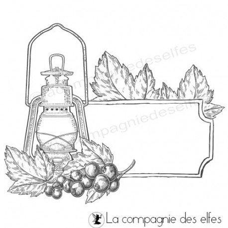 carte automne autour des feuilles feuillages 1/3 Tampon-etiquette-automne