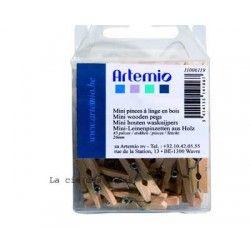 Mini pinces à linge en bois ARTEMIO