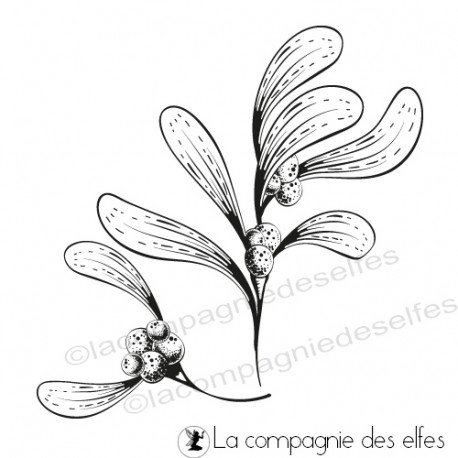 le 16 décembre sketch carte ou page Tampon-branches-de-gui