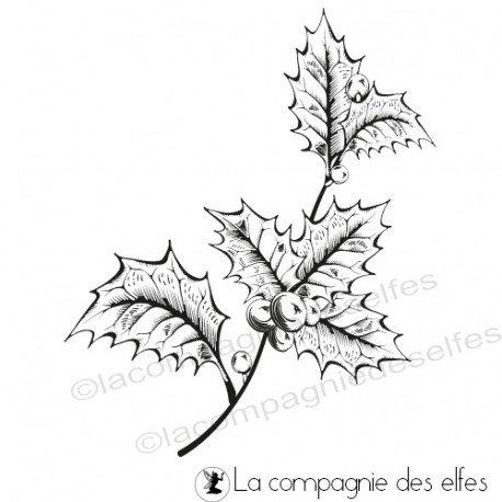 Carte de Noël 2/3 Tampon-branche-de-houx