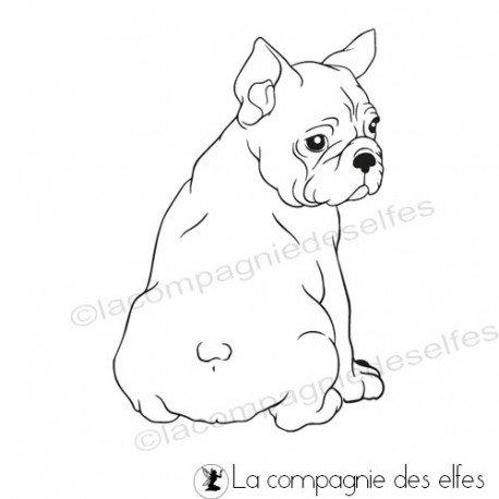 Tampon chien bouledogue | achat timbre bouledogue français