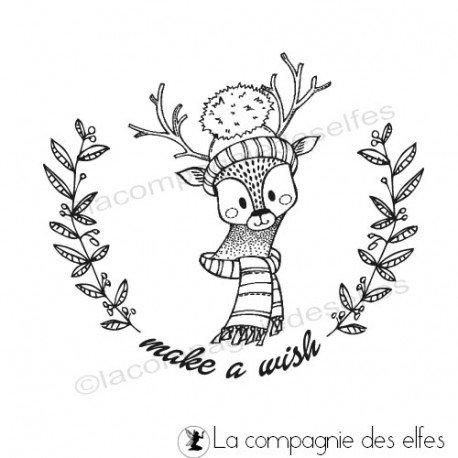 étampe make a wish | achat cachet wish | scrapbooking biche noel
