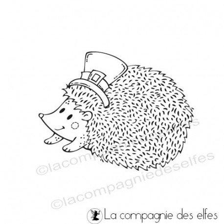 25 novembre Sabine carte avec chapeau ... Tampon-herisson-chapeau