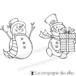 Tampon couple de bonhommes de neige