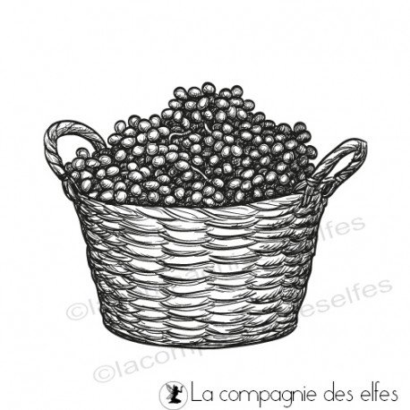 libre 3/3 tampon à programmer Tampon-panier-de-fruits