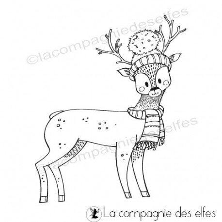 Home Déco pour Noël Tampon-biche-avec-echarpe