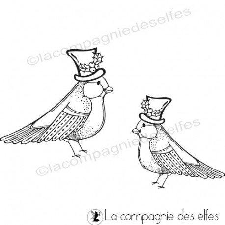 le 16 décembre sketch carte ou page Tampon-les-oiseaux-d-hiver