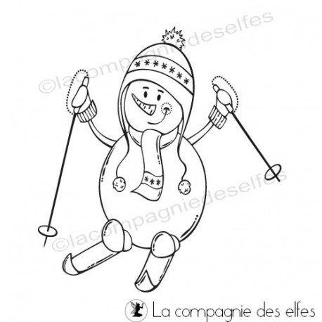 Cartes de Février 2020 Tampon-bonhomme-de-neige-skis