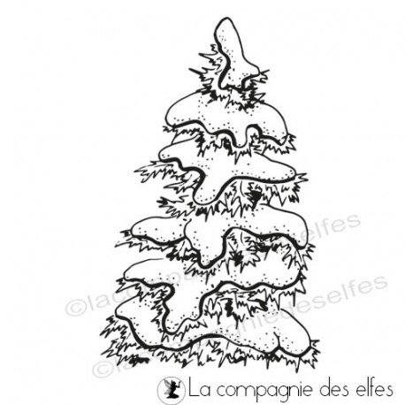 Carte gnome et lutin 1/3 Tampon-sapin-neige