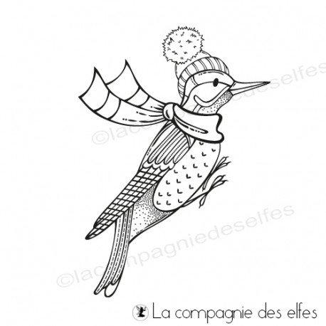étampe oiseau noël | tampon Noël animaux