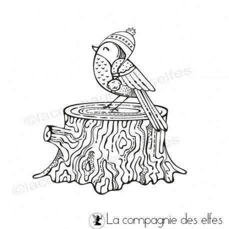 étampe oiseau hiver| winter bird stamp