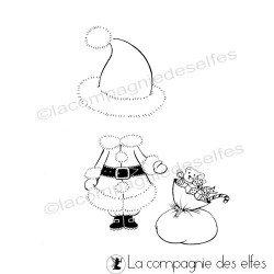 Tampon tenue noel | timbre mère Noël