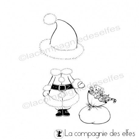 Tampon tenue noel   timbre mère Noël