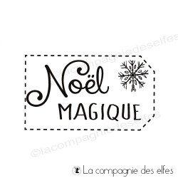 Tampon étiquette Noël magique