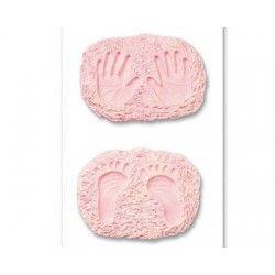 empreintes main bébé rose x 2
