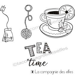 Timbre tea time | tea time rubber stamp