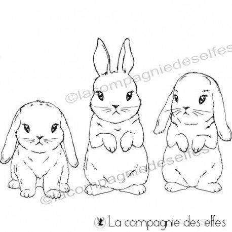 lundi 2 MARS 2020 challenge de Pâques par Scrapanisé Tampon-trio-lapins
