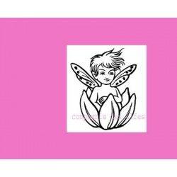 petit elfe dans sa fleur - tampon non monté