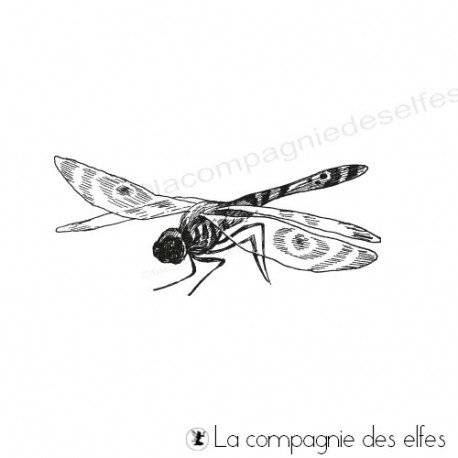 timbre encreur libellule | dragonfly rubber stamp