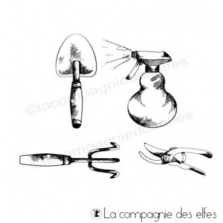 Tampon outillage de jardin | garden tools rubber stamp