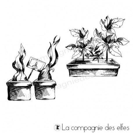 Tampon plante de jardin | garden rubber stamp
