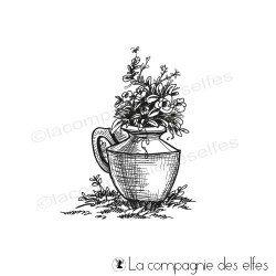 Tampon pot de fleur |flower pot rubber stamp