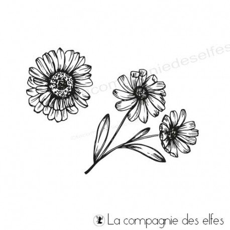 Tampon paquerette |flower rubber stamp