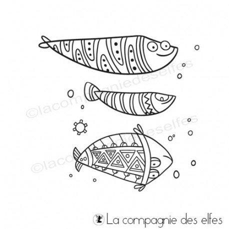 Timbre encreur poisson | achat timbre poissons