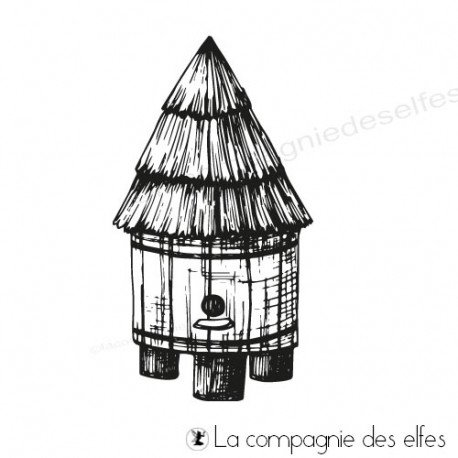 Tampon ruche | bees house rubber stamp