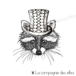 Tampon raton laveur steampunk | steampunk racoon stamp
