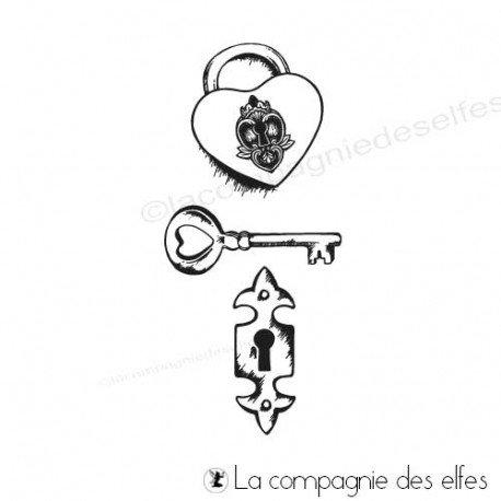 Tampon coeur et cadenas | steampunk stamps