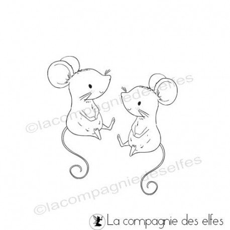 timbre encreur souris | bith mouse rubber stamp