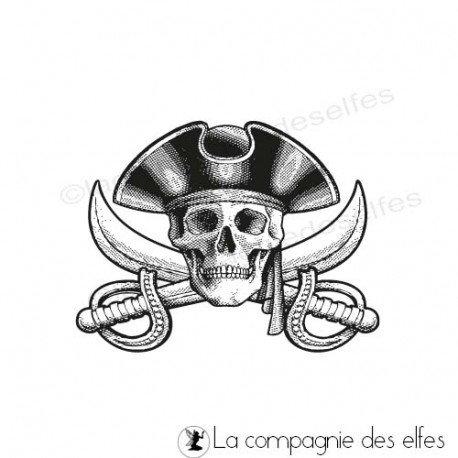 Tampon pirate mer   tampon scrap tête de mort