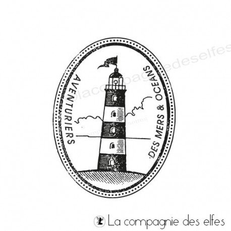 Tampon encreur marine | timbre phare des mers