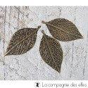 Breloques métal feuilles