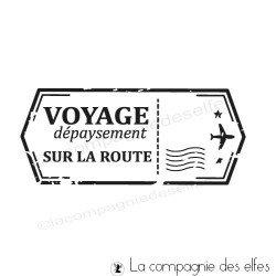 Tampon étiquette voyage dépaysement