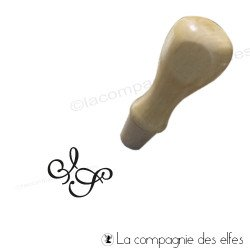 Tampon bois initiales 1 cm