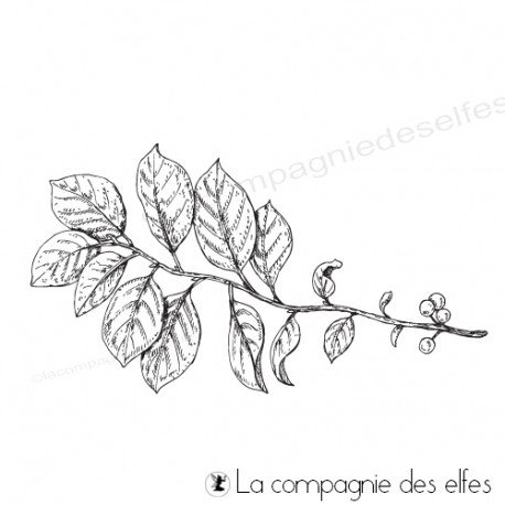 Achat tampon grande branche feuillages