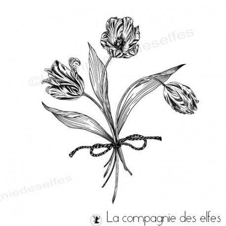 Achat tampon bouquet de tulipes