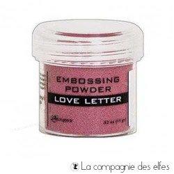 Poudre à embosser métallique rose letter