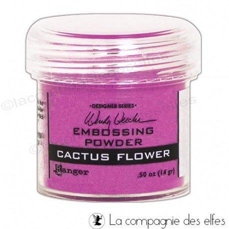 Poudre cactus flower Ranger | tim holtz | embossage chaud
