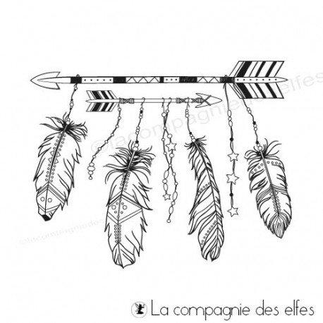 Tampon flèches et plumes boho bohème