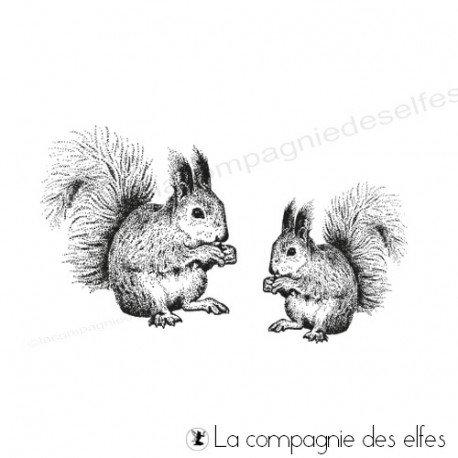 Squirel rubber stamp | achat tampon écureuils de la forêt