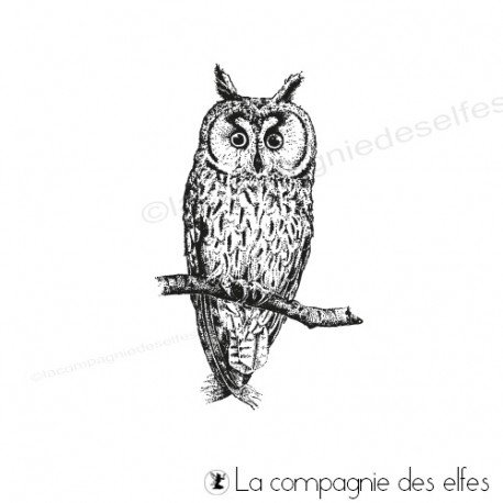Owl rubber stamp | achat timbre hibou