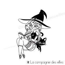 Tampon encreur sorcière chat Halloween