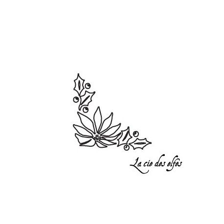 Tampon rose noël | tampon houx