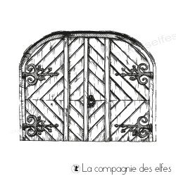 Wood door rubber stamp | achat timbre porte en bois