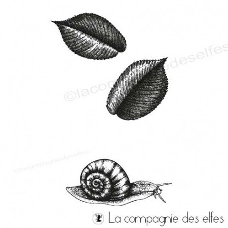 Achat tampon feuilles automne escargot